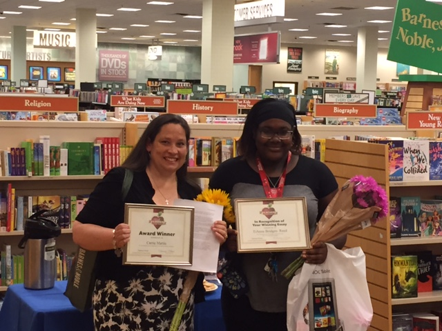 Barnes & Noble's 2016 National Teacher of the Year is Carrie Martin from Evers Park Elementary School in Denton, TX, pictured with her former student Tianna Bridges-Reed who wrote the winning essay.